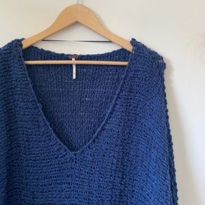 Free People Oversized Chunky Sweater M Blue